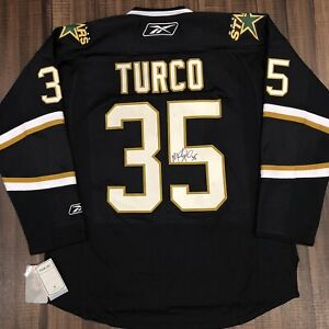 Autographed Reebok Marty Turco Dallas Stars NHL Hockey Jersey Black Home XL