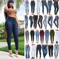 Women High Waist Denim Jeans Stretch Skinny Fit Slim Lady Long Trousers Pants