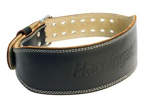 "Harbinger Belt 6"" Padded Leather Power Lifting Weight Lifting Belt Size M Black"