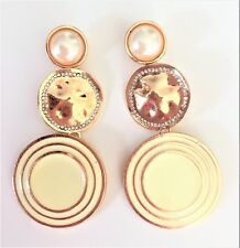 Diamante Disc Dangle Drop Earrings Cream Enamel Long Hammered Gold Tone