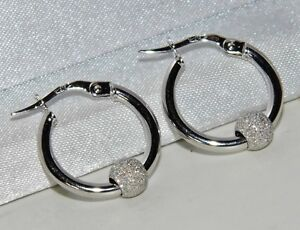 9ct White Gold Ladies Hoop Creole Earrings With attached Glitterball -
