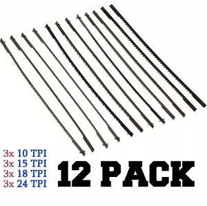 12 Pack - Coping / Scroll Saw Blades - 10 15 18 24 TPI - Pinned End Wood U Fret