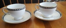 WEDGWOOD China England Black ULANDER R4407  2 Cups and Saucers