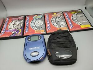 2003 VIDEO NOW PERSONAL VIDEO PLAYER BLUE BUNDLE, CASE AND 4 MOVIES, VTG hasbro