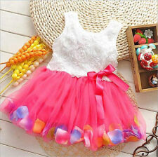 Toddler Baby Kids Girls Princess Party Tutu Lace bowknot Flower Dresses 0-6 M