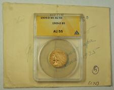 1909-D Indian Head Gold Half Eagle $5 Coin ANACS AU-55 JMX