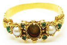 Deliziosa Georgiano Oro Anello Split Perle & Smeraldi C. 1820 Taglia 6 3/4