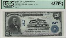 1902 PB $20 OTOE NEBRASKA CITY NATIONAL BANKNOTE CURRENY PCGS C CU 63 PPQ (6888)