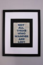 Not All Those Who Wander Are Lost J.R.R. Tolkien Quote Vintage Dictionary Print
