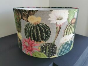 NEW HANDMADE LAMPSHADE Green Cactus Pink Flowers Linen Table Lamp Pendant NEW