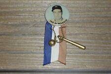 """Vintage 1940's Era Joe DiMaggio PM10 1 3/4"""" Celluloid Pin Ribbon & Charms -Blue"""
