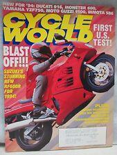 Cycle World Magazine January 1994 Suzuki RF600R Yoshimura GSX-R750 AJS Porcupine
