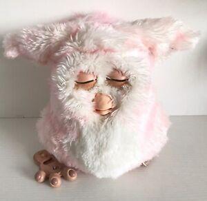 2005 Furby Emoto-tronic Strawberry Swirl Pink White Fur Green Eyes PARTS/REPAIR