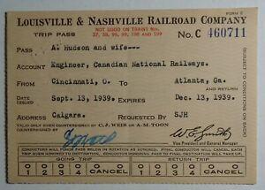 Louisville & Nashville Railroad 1939 Trip Pass