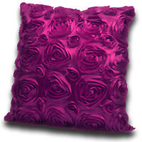 "18"" or 22"" Large Satin Effect 3D Rose Sofa Bed Scatter Cushion Covers Purple"