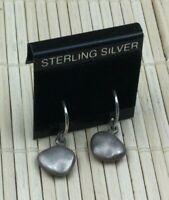 Vintage Sterling Earrings Silver Petite Hammered Modernist Pierced Drop