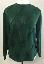 Flora Kung New York Size 4 100% Silk Green Brown Polka Dot Long Sleeve Blouse
