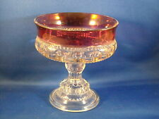 VTG KING'S CROWN [THUMBPRINT] INDIANA W/RUBY BAND COMPOTE 1950S-198OS  NO LID