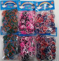 3600 RED BLUE WHITE PINK BLACK GREEN ORANGE Rainbow Color loom refill bands