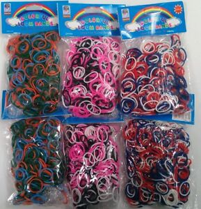 3600 New RED BLUE WHITE PINK BLACK GREEN ORANGE Color Loom Refill Rubber Bands
