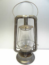 Antique Old Metal Clear Glass No 0 Tubular Made in USA Barn Lantern Oil Lamp
