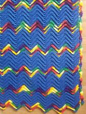 "Hand Knit Afghan Throw Blanket, 47L"" X 33""W, Washable, Rainbow and Blue, EUC."