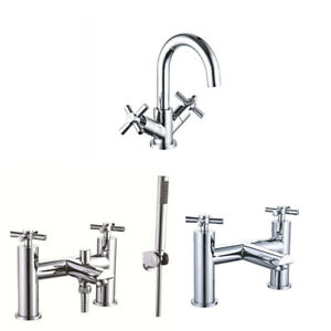 Bathroom Mono Basin Sink Mixer Tap Waste Modern Cross Head Handle Curved Spout