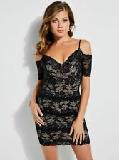 NEW GUESS Womens Black Lace Bodycon Party Mini Dress XS $89 Off Shoulder Marcy