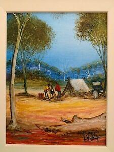 Original Pro Hart Oil Painting - Camping