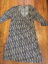 Career WRAP DRESS SEXY SLINKY faux wrap TAN BLACK geometric  PRINT 2xl