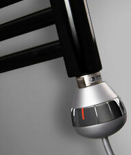 800 Watt Chrome REG-3 Thermostatic Electric Element  Heated Towel Rail Radiator