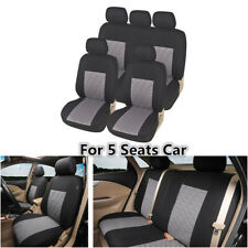 9Pcs Gray Polyester Car Seat Covers Protector Full Set For Interior Accessories