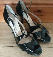 LK Bennett Sandy Black Patent Leather Shoes Sandals Size UK 8 EU 41