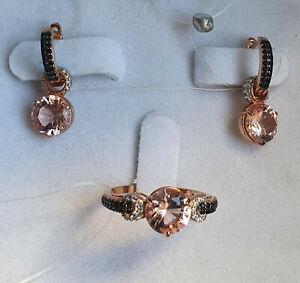 Ring earrings rose gold plated silver 925 pink nano morganite CZ set NWT