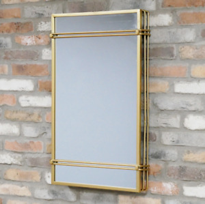 Large Gold Mirror Art Deco Metal Rectangular Wall Hanging Geometric Portrait New