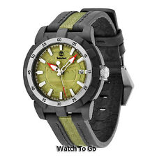 NEW TIMBERLAND WATCH for MEN * Black Leather/Green Nylon Strap 13323MPBS/24 $109