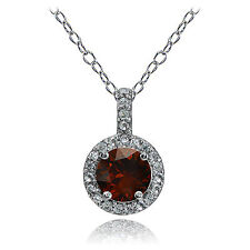 Sterling Silver Garnet and White Topaz Halo Necklace