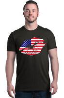 American Kiss Lips T-shirt USA Flag Patriotic 4th of July Shirts