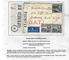 MALTA (PP0303B)1943 2/-+2DX2D CENSOR  OAT COVER TO USA  FULL DESCRIPTION ON PAGE