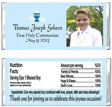 First Communion YOUR PHOTO ANY COLOR Candy Wrappers Party Favors Personalized
