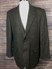 Madison Creek Men 44 Brown Wool Suede Elbow Patch Herring Pleated Western Blazer