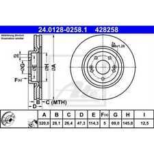 ATE 2x Bremsscheiben belüftet beschichtet 24.0128-0258.1