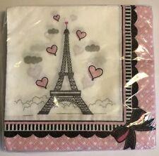 Paris Birthday Party Cocktail / Dessert Napkins Eiffel Tower Pink Bow Dots