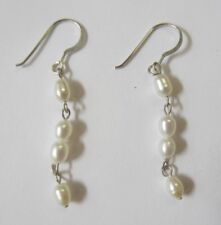 Stones Pearl Black Onyx Amethyst 4pairs Sterling Silver Earrings with Natural