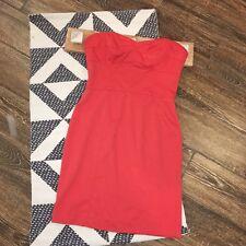 Rebecca Taylor Dress Size 6 Strapless Orange Coral Solid Stretch Bodycon Womens