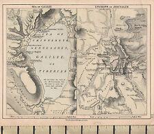 c1877 Victorian Map ~ Sea Of Galilee ~ Environs Of Jerusalem El Kuds