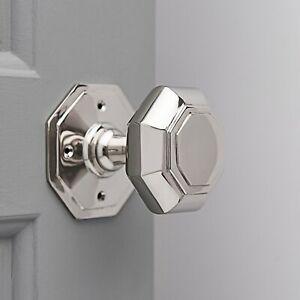 Octagonal Door Knobs (Pair) - Nickel