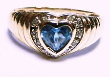 14k Yellow Gold Genuine Heart Blue Topaz & Diamond Halo Dome Design Size 7.00