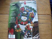 "BUCILLA FELT CHRISTMAS STOCKING EMBROIDERY KIT NIP 18"" SNOWMAN W/ BIRDS # 86234"