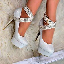 Ladies Platform Stiletto Shoes Evening High Heels Ankle strap Sparkly size 3-9